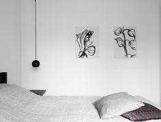 White & black minimalistic bedroom, scandic style