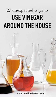 27 Unexpected Ways to Use Vinegar Around the House   Martha Stewart Living - What if we told you there is one item in your kitchen pantry that can do it all? This homekeeping multitasker can whiten your laundry whites, wash your windows and mirrors, drive out pests, eliminate odors, and remove stains, and leave your surfaces sparkling clean. Enter: vinegar, your secret weapon.