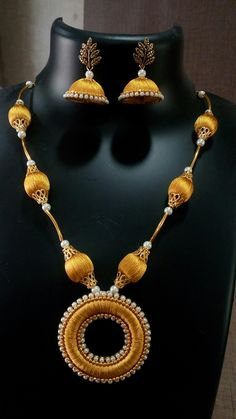 Silk Thread Jhumkas, Silk Thread Bangles Design, Silk Thread Necklace, Beaded Necklace Patterns, Thread Jewellery, Beaded Jewellery, Fabric Jewelry, Jewelry Patterns, Jewelry Crafts