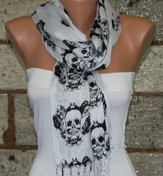 Light Gray  Scarf   Headband Necklace by fatwoman on Etsy, $15.00