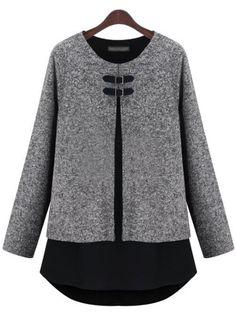 Grey Long Sleeve Contrast Hem Loose T-Shirt EUR€23.27