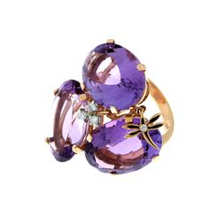 "CASATO-""Acqua"" Collection-18K pink Gold ring with oval Amethyst, Diamonds and a small rose Gold dragonfly dangle. $ 4,115."
