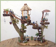 5 Floor Tree-House for a Garden Gnome or Fairy  //  Furniture and Gnome are removable// Outdoor Display Ok