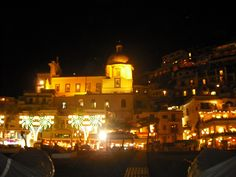 Positano, Italy: view from the beach at night