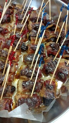 These bacon wrapped dates are hot, sizzling, and ready for our clients to jump in! Hope they like the sweet and savory, bite size snack. #catering #cater #caterer #oc #orangecountry #sweetandsavory #sweet #savory #bacon #baconwrapped #baconwrappeddates #bite #bitesize #snack #bitesizesnack #sizzle #hot #horsdoeuvres #appetizer #appetizers