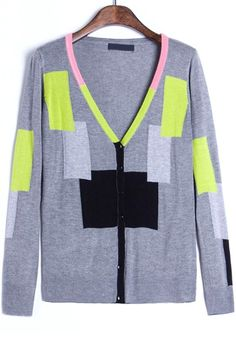 Chic Colorblock Slim Cardigan