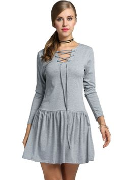 Gray V-Neck Long Sleeve Low Waist Pleated Solid Dress