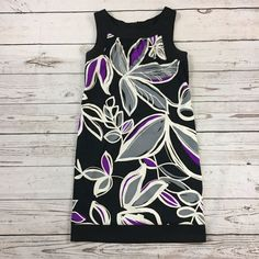 Dressbarn Floral Sheath Black, Purple and Gray Dress. 97% Polyester;3% Spandex. Dress has some strech; with pockets; Machine Wash. Condition: There is one snag on the back of the dress toward the bottom as seen in the last photo. | eBay!