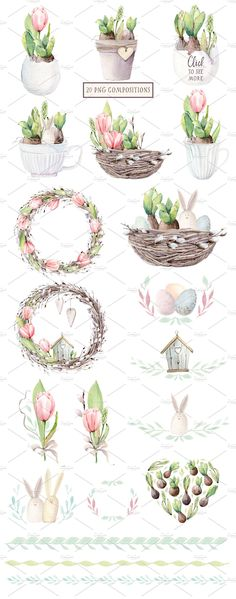 HAPPY SPRING watercolor set - Illustrations - 2