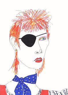 DAVID BOWIE Drawing Print / Ziggy Stardust / Portrait / mixed media / Rockstar / Icon /  sizes a4-a3