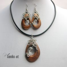 Wire wrapped wooden pendant and earrings set