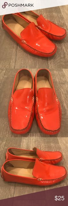 Cole Haan Orange Patent Leather Driving Moc Loafer Cole Haan orange patent leather loafers in size 8. Overall good condition with small scraping on the sole as shown in photos. Damage is on the sole and cannot be seen when wearing. Insole also shows minor wear as shown in photos. Any questions, feel free to ask. Cole Haan Shoes Flats & Loafers