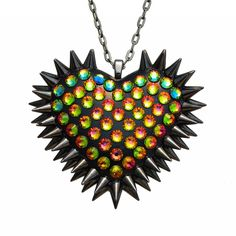 """""""Xirius"""" Spiked & Pavèd Heart Necklace in Vitrail"""
