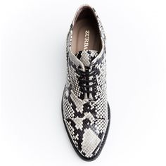 ZURBANO | Freddy - Python print leather lace-up oxford shoes with extralight outsole and exposed stitching.