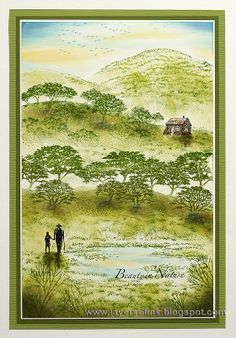 Layers of ink: Rolling Green Hills Scenic Stamping. Dye ink on glossy cardstock…