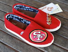 Youth San Francisco 49ers TOMS shoes by BStreetShoes on Etsy, $149.00