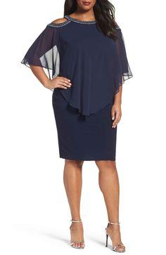 Main Image - Alex Evenings Embellished Cold Shoulder Overlay Cocktail Dress (Plus Size)
