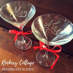 2 cocktail glasses personalised martini glasses custom drink gift hand engraved personalised gift bridesmaid gifts set of glasses by RockeryCottage Personalised Glasses, Personalised Gifts, Handmade Gifts, Lettering Design, Hand Lettering, Hand Engraving, Martini, Bridesmaid Gifts, Glass Art