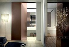 External wall sliding door, frosted bronze monolithic glass, rounded HG1250 pull handle in stainless steel