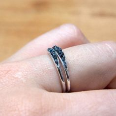 Hidden raw diamond ring sterling silver black by GardensOfTheSun
