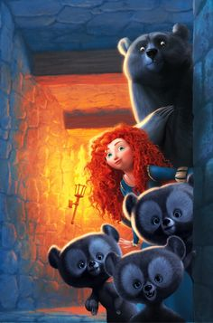 Merida and her mother, Elinor and her brothers as bears