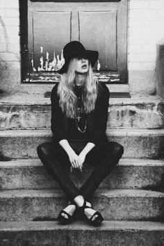 floppy hat, silver jewellery, leather pant - I love the heidi Slimane for YSL inspiration