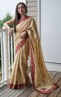 Semi Tussar Kashmiri Embroidery Saree in Beige and Pink Embroidery Saree, Tussar Silk Saree, Mulberry Silk, Machine Embroidery, Sari, Photoshoot, Beige, Pink, Collection