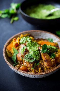 Delicious Tunisian Chicken ( or chickpeas) with Carrots, Cous Cous and flavorful Green Harissa Yogurt Sauce. A one-pot meal that can be made in 45 mins Tagine Recipes, Couscous Recipes, Clean Eating Recipes, Cooking Recipes, Healthy Recipes, Yummy Recipes, Cooking Tips, Keto Recipes, Healthy Food