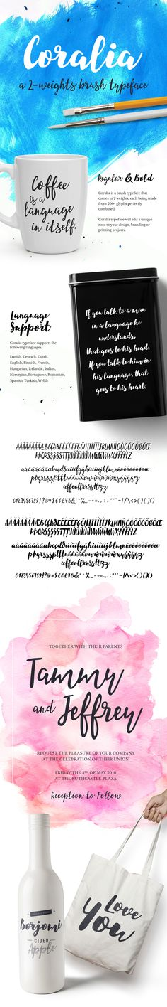 Coralia is a brush typeface that comes in 2 weights, each being made from 200+ glyphs perfectly combined.Coralia typeface supports the following languages: Danish, Deutsch, Dutch, English, Finnish, French, Hungarian, Icelandic, Italian, Norwegian, Portu…