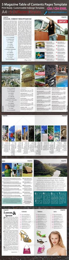 Magazine Table of Contents Page Template