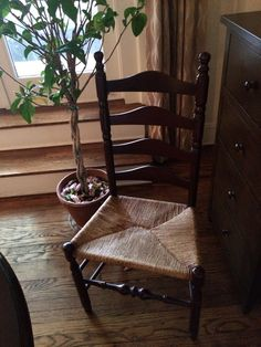 Antique Ladder Chair purchased from a shop in Cambridge, MA by NYCfurnishings on Etsy.  Dimensions are 14.5 d x 20.5 w x 41.75 h. Seat height is 17.5 in.