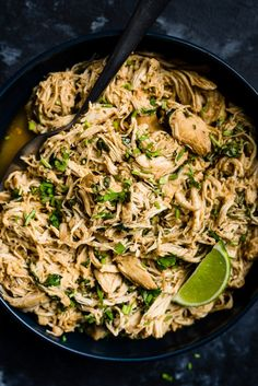 This slow cooker cilantro lime chicken is perfectly seasoned, super juicy restaurant quality taco chicken that takes just 10 minutes to prep! Lime Chicken Recipes, Cilantro Lime Chicken, Mexican Food Recipes, Whole Food Recipes, Dinner Recipes, Healthy Recipes, Ethnic Recipes, Whole30 Recipes, Dinner Ideas