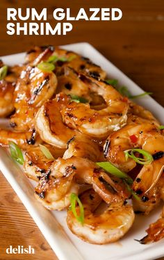 sweet and spicy Rum Glazed Shrimp will make you feel like you're on a tropical island. Get the recipe at .This sweet and spicy Rum Glazed Shrimp will make you feel like you're on a tropical island. Get the recipe at . Shrimp Dishes, Fish Dishes, Shrimp Recipes, Fish Recipes, Main Dishes, Shrimp And Scallop Recipes, Sauce Recipes, Recipies, Cooking Recipes