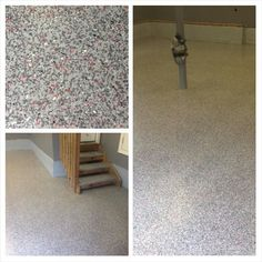 """Rhino Linings of Ocean County. This garage floor and stairs were coated with Rhino HomePro in the color """"Carbonite"""" in a home in Cedar Run, NJ."""