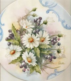 CHARLENE WHITLER - ILLINOIS - DAISIES AND BLUEBERRIES on a BOX