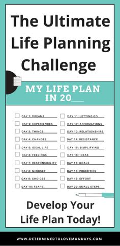 Join the Life Planning Challenge to refocus, recharge and reenergize your life. It& a great starting point to the life planning process.
