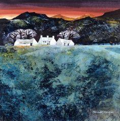 Michael Morgan Red Sky at Night. 27 x 27 cms Watercolor Landscape, Abstract Landscape, Landscape Paintings, Watercolor Art, Michael Morgan, Naive Art, Art Sketchbook, Ciel, Beautiful Landscapes