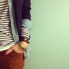blazer / chambray / stripes / colored denim | fall layering.