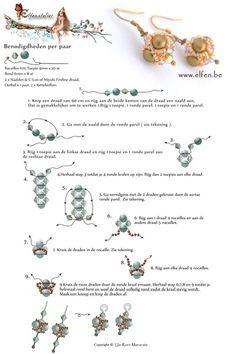 Gratis patronen | Elfenatelier Beaded Beads, Beaded Earrings Patterns, Beading Patterns Free, Seed Bead Patterns, Beads And Wire, Bracelet Patterns, Weaving Patterns, Free Pattern, Beaded Necklace