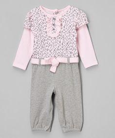 Pink & Gray Leopard Layered Playsuit - Infant #zulily #zulilyfinds