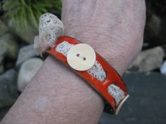 BUTTON UP Enameled Corrugated Anticlastic Bangle by CharmdImSur