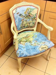 Annie sloan world map fabric reupholstered by love restored map chair gumiabroncs Image collections