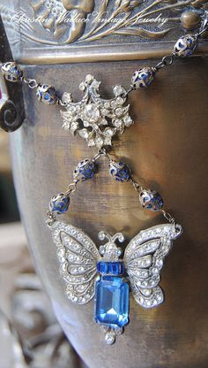 Cobalt Butterfly--Vintage Assembled Art Deco Rhinestone Butterfly French Glass Rosary Bird Cross NECKLACE