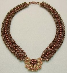 Precious gold Necklace Pattern by Cecilia Rooke at Sova-Enterprises.com