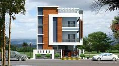 elevations of residential buildings - بحث Google 3 Storey House Design, Bungalow House Design, House Front Design, Modern House Design, Duplex House, Modern Houses, Building Elevation, House Elevation, 20x30 House Plans