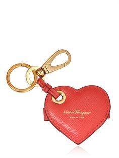 SALVATORE FERRAGAMO - HEART SAFFIANO LEATHER KEY HOLDER - LUISAVIAROMA - LUXURY SHOPPING WORLDWIDE SHIPPING - FLORENCE
