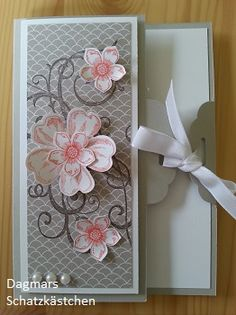 hand crafted card ... label tie format ... lovely pink flowers on grays ... Stampin' Up!