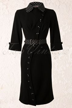 Miss Candyfloss - 40s Curvy Bonita Fitted Button Dress in Black
