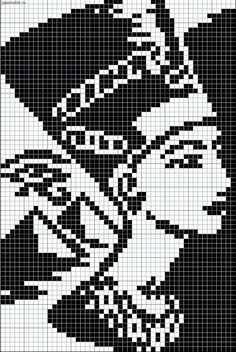 Egyptian queen pattern / chart for cross stitch, knitting, knotting, beading, weaving, pixel art, and other crafting projects.