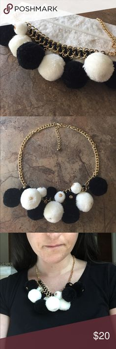9195c275d43 🎊🤗Who Loves Pom Poms Black and White Necklace Gold Plated Chain with  additional adjustable inches Black and White Pom Poms, the big hit this  summer ...